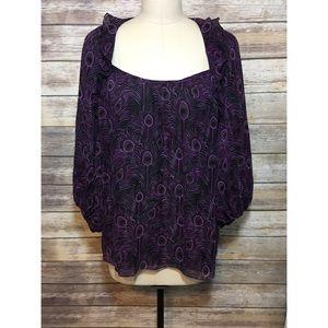 $248 Nanette Lepore Purple Silk Poet Blouse 12